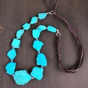 Jewelry - Turquoise & Leather Slab Necklace